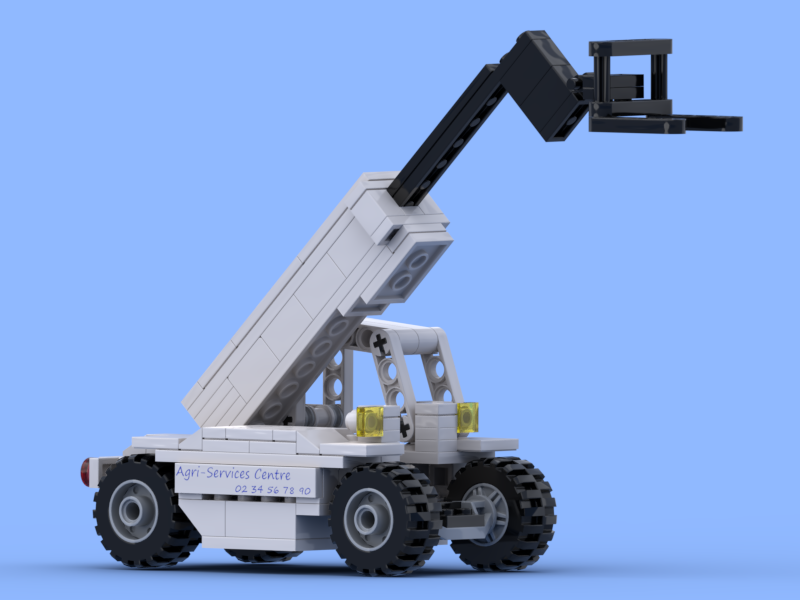 White telescopic handler with forks made of Lego® bricks
