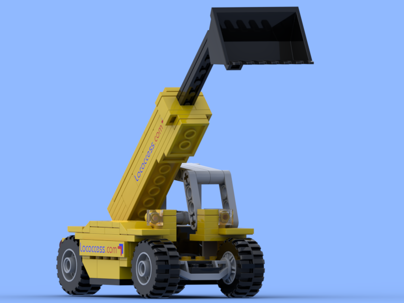 Yellow telescopic handler made of Lego® bricks