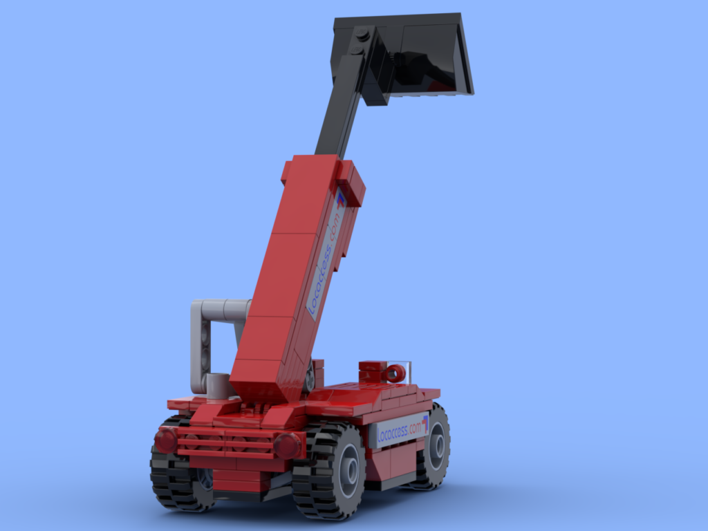 Red telescopic handler made of Lego® bricks