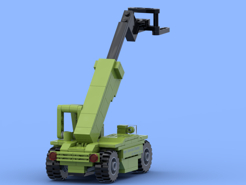 Green telescopic handler with forks made of Lego® bricks