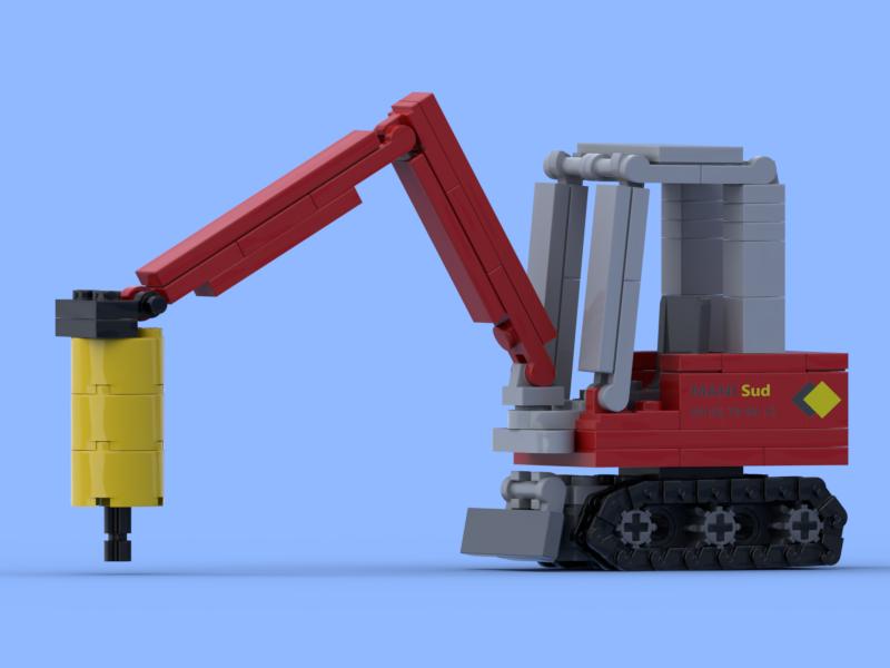 Mini pelle à chenilles avec un BRH réalisée en briques Lego®