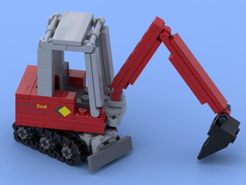 Mini pelle à chenilles rouge réalisée en briques Lego®