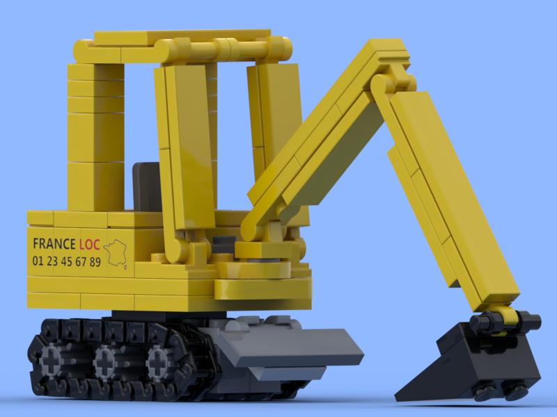 Mini pelle à chenilles jaune réalisée en briques Lego®