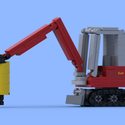 Mini excavator with hydraulic hammer made of Lego® bricks