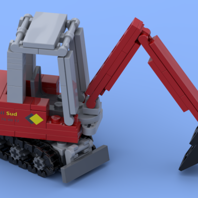 Red mini excavator made of Lego® bricks