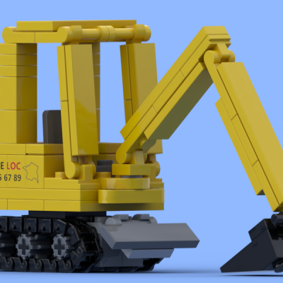 Yellow mini excavator made of Lego® bricks
